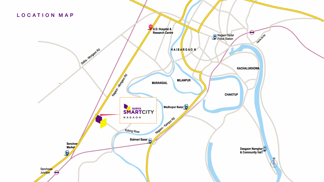 Surya SmartCity Location Map