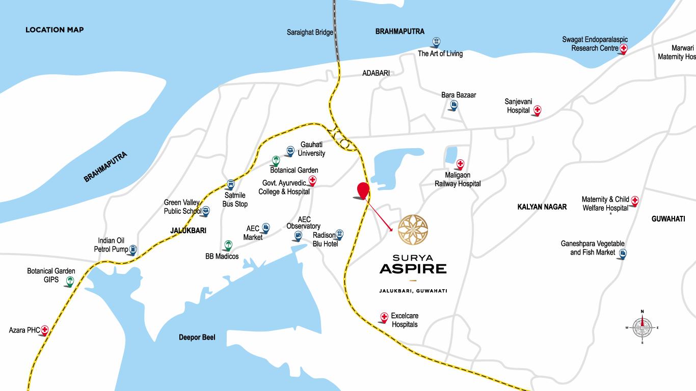 Surya Aspire Location Map