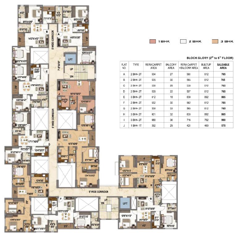 Surya Aspire Block Glory - 2nd to 9th floor